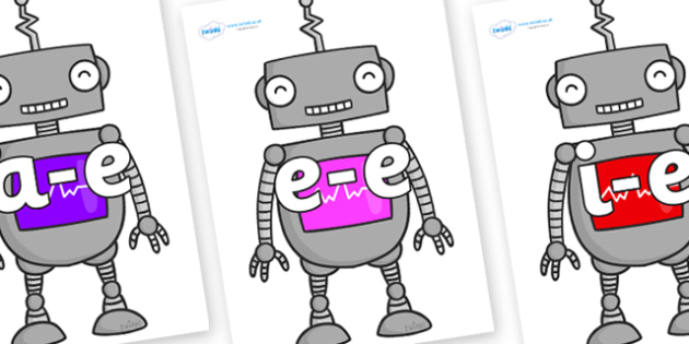 Modifying E Letters on Robots - Modifying E, letters, modify, Phase 5, Phase five, alternative spellings for phonemes, DfES letters and Sounds