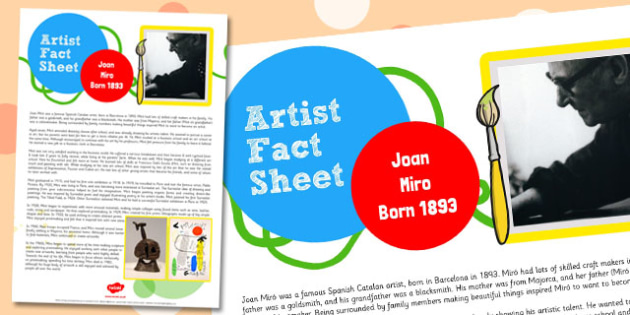 Artist Fact Sheet Joan Miro - artist, fact sheet, joan miro