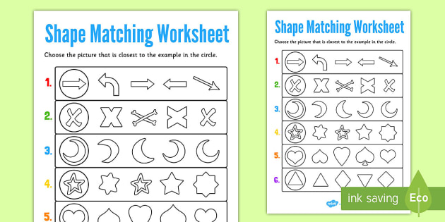 Visual Perception Shape Matching Worksheet - shape, matching