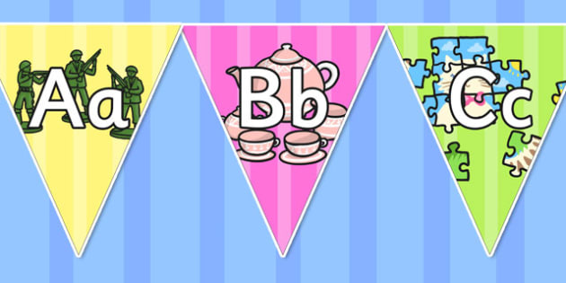 Toy Themed Alphabet Display Bunting - toy, alphabet, display