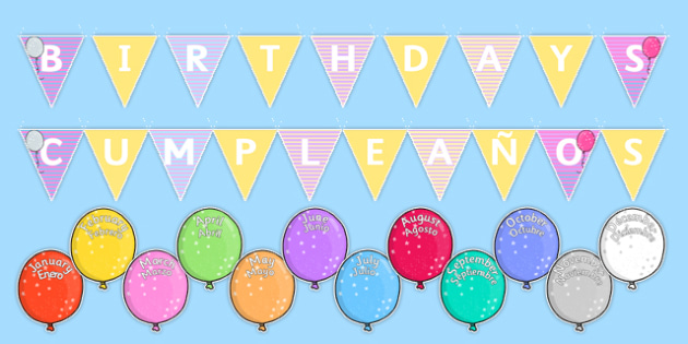 Balloon Themed Birthday Display Pack Spanish Translation - spanish, birthday, display, pack