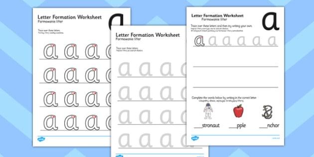 a z Letter Formation Worksheets Polish Translation - writing, pd, fine motor skills, letters, alphabet