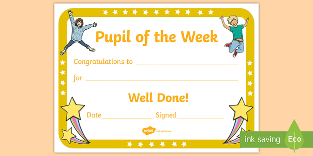 Pupil of the Week Certificate - Pupil Of The Week, Certificate, Pupil Certficate, Certificates, Pupil Of The Week Certififcate