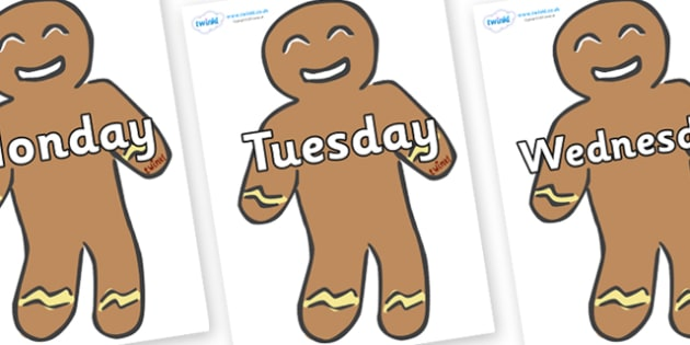 Days of the Week on Gingerbread Men - Days of the Week, Weeks poster, week, display, poster, frieze, Days, Day, Monday, Tuesday, Wednesday, Thursday, Friday, Saturday, Sunday
