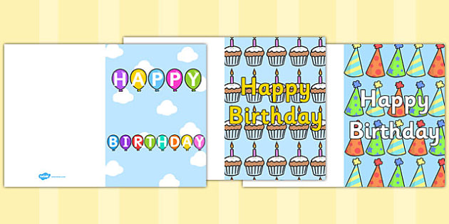 Birthday Card Writing Template - Blank Editable Card Templates