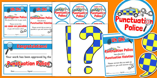 Punctuation Police Pack - punctuation police, pack, punctuation, police