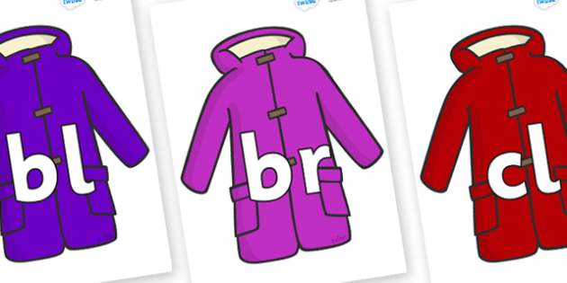 Initial Letter Blends on Coats - Initial Letters, initial letter, letter blend, letter blends, consonant, consonants, digraph, trigraph, literacy, alphabet, letters, foundation stage literacy