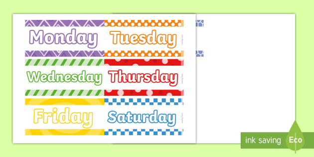 Days of the Week Display Borders - display, borders, days, week