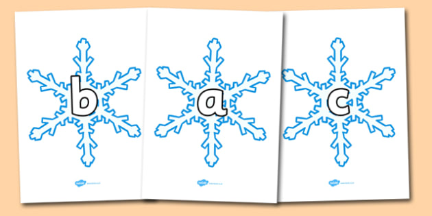 A-Z Alphabet on Snowflakes - Snowflake, Alphabet frieze, Display letters, Letter posters, A-Z letters, Alphabet flashcards, snow, winter, frost, cold, ice