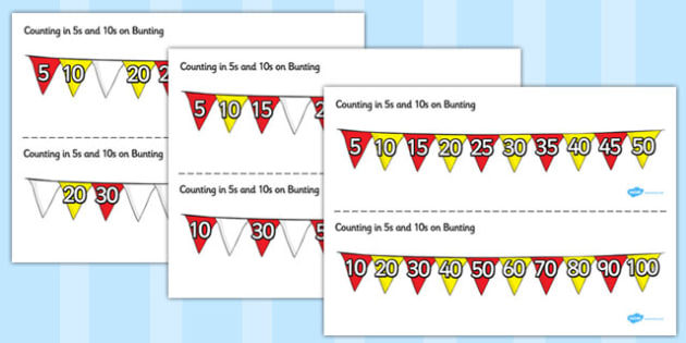 Counting in 5s and 10s on Bunting - counting, 5s, 10s, bunting