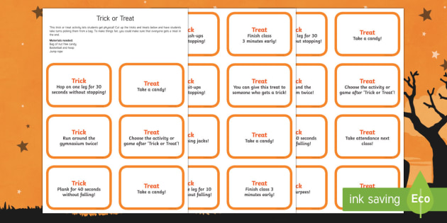 Trick or Treat Physical Education Game