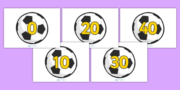 10-100 on Footballs (in tens) - Foundation Numeracy, Number recognition, Number flashcards, counting, football, soccer, footballs, sport, world cup