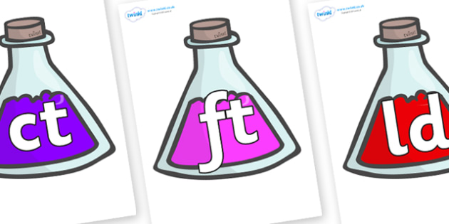 Final Letter Blends on Potions - Final Letters, final letter, letter blend, letter blends, consonant, consonants, digraph, trigraph, literacy, alphabet, letters, foundation stage literacy