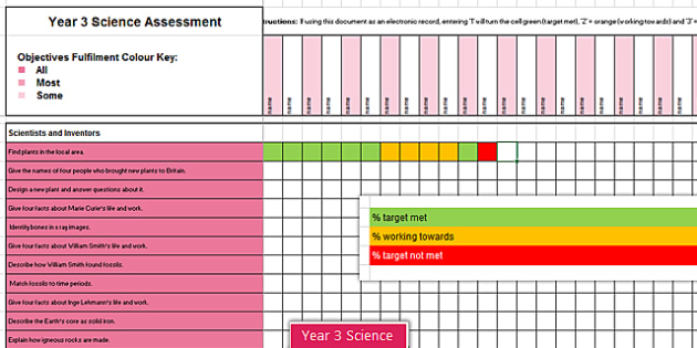 Y3 Science Assessment Spreadsheet