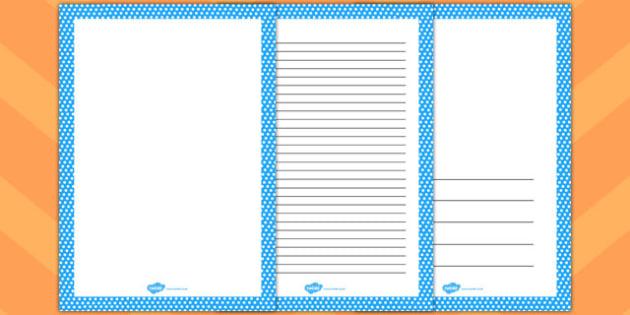 Blue and White Polka Dot Page Borders - page, borders, polka dot