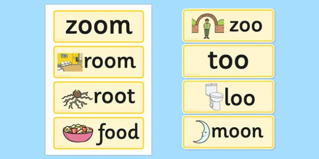 Oo Sound Word Cards - oo sound, word cards, word, cards, sound