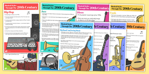 The History of Music: Musical Styles Through the 20th Century A5 Fact Cards