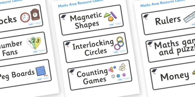 Pukeko Themed Editable Maths Area Resource Labels - Themed maths resource labels, maths area resources, Label template, Resource Label, Name Labels, Editable Labels, Drawer Labels, KS1 Labels, Foundation Labels, Foundation Stage Labels, Teaching Labe