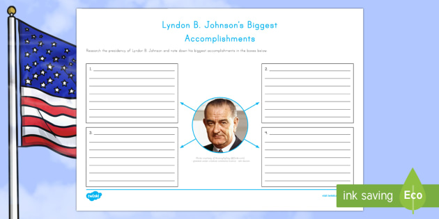 Lyndon B. Johnson's Biggest Accomplishments Activity Sheet - American Presidents, American History, Social Studies, Barack Obama, Lyndon B. Johnson, Franklin D.
