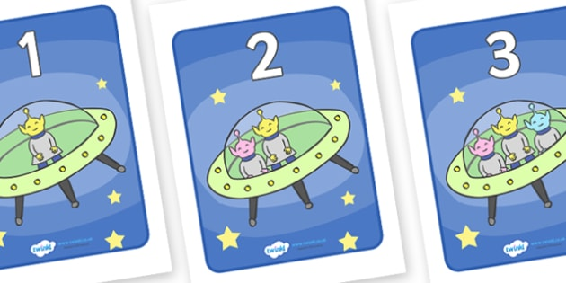 1-5 Display Numbers (Five Little Men In A Flying Saucer) - Five Little Men in a Flying Saucer,  nursery rhyme, rhyme, rhyming, nursery rhyme story, nursery rhymes, counting rhymes, counting backwards, subtraction, one less than, Five Littl, numbers,