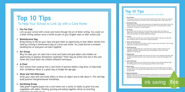 Top 10 Tips to Help Your School to Link Up with a Care Home Top Tips - Top 10 Tips, Advice, Ideas, Support, Carers, Schools, Activity Co-ordinators, Intergenerational - Top 10 Tips, Advice, Ideas, Support, Carers, Schools, Activity Co-ordinator