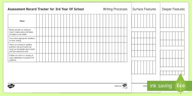 New Zealand 3rd Year of School Writing Assessment Tracker -  Assessment, Writing, Literacy, 3rd Year of School, assessment tracker, individual tracker