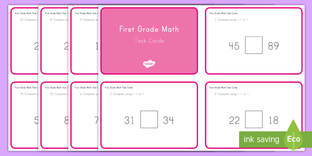 Common Core First Grade Math NBT B 3 Task Cards - Common Core, Comparing Numbers, Number and Operations in Base Ten