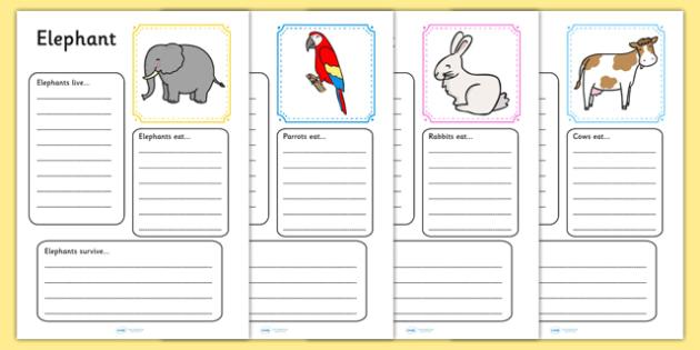 Animal Factfile Worksheets - animal, animals, fact file, facts