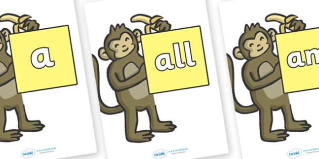Foundation Stage 2 Keywords on Monkeys - FS2, CLL, keywords, Communication language and literacy,  Display, Key words, high frequency words, foundation stage literacy, DfES Letters and Sounds, Letters and Sounds, spelling