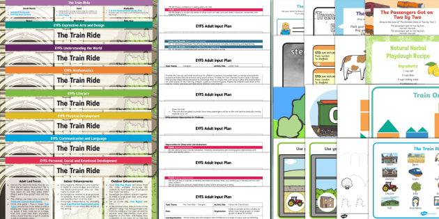 The Train Ride Lesson Plan Enhancement Ideas and Resources Pack - planning, Early Years, continuous provision, early years planning, adult led, transport, travel, journeys, June Crebbin
