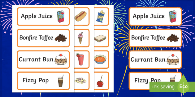 Bonfire Night Food Stall Role Play Word Cards