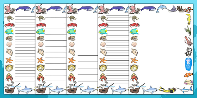 Under the Sea Page Borders - page border, border, frame, writing frame, writing template, under the sea, under the sea page borders, sea life, sea, writing aid, writing, A4 page, page edge, writing activities, lined page, lined pages