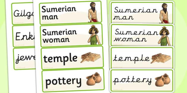 Ancient Sumer Word Cards - ancient, sumer, history, visual aids