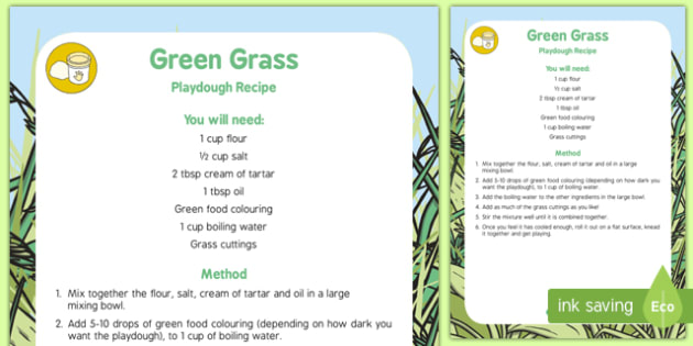 Green Grass Playdough Recipe