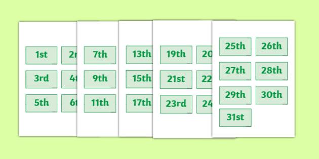 Calendar Dates Labels - Dates, date, calendar, months, days, date display