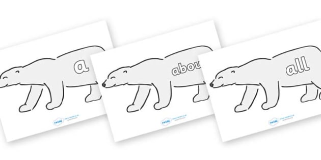 100 High Frequency Words on Polar Bears - High frequency words, hfw, DfES Letters and Sounds, Letters and Sounds, display words