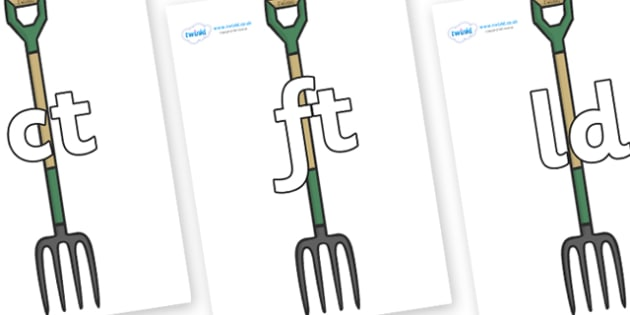 Final Letter Blends on Garden Forks - Final Letters, final letter, letter blend, letter blends, consonant, consonants, digraph, trigraph, literacy, alphabet, letters, foundation stage literacy