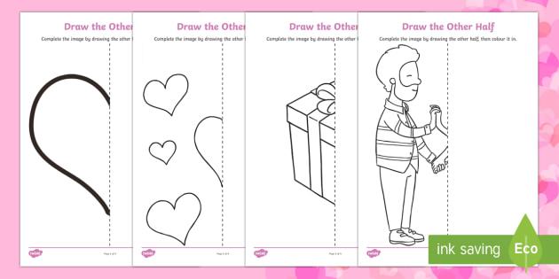 Valentine's Day Draw the Other Half Activity Sheet - Valentine's Day, feb 14th, love, cupid, hearts, valentine, reflection, half,