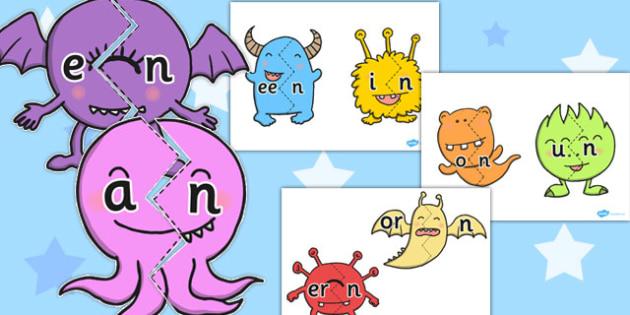 Vowel and Final 'N' Monster Jigsaw - final n, sound, jigsaw