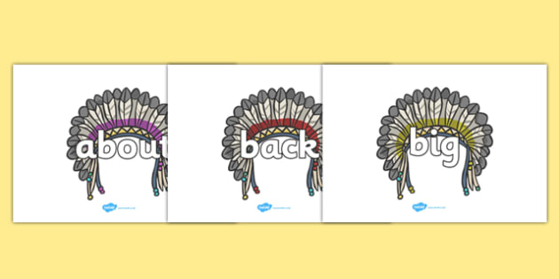 100 High Frequency Words on Headdresses - High frequency words, hfw, DfES Letters and Sounds, Letters and Sounds, display words