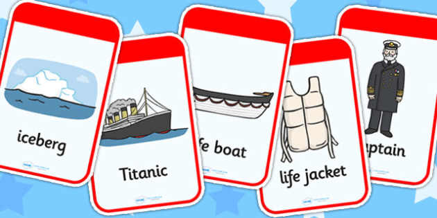 The Titanic Flashcards - titanic, flash cards, word cards, cards