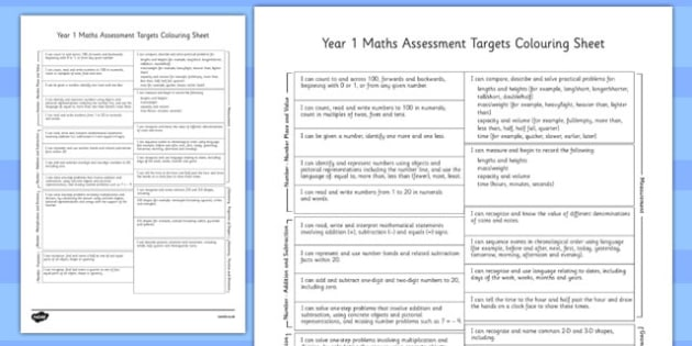 Year 1 Maths Assessment Targets Colouring Sheet - year 1, maths