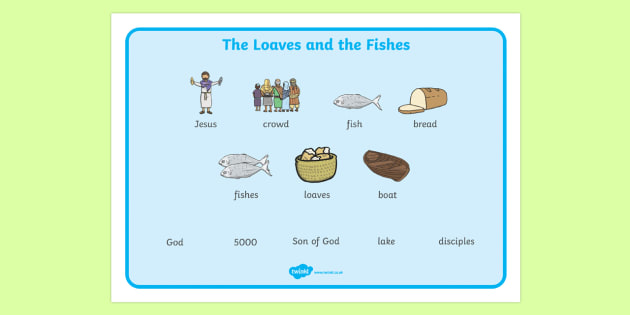 The Loaves And Fishes Word Mat Images - the Loaves and the Fishes, loaves, fishes, Jesus, food, word mat, writing aid, mat, the feeding of the five thousand, crowd, feeding, God, teaching, 5000, people, five loaves