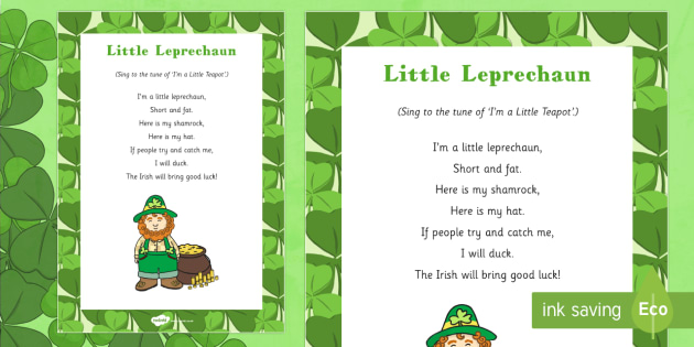 Little Leprechaun Rhyme - St Patricks day, little leprechaun, rhyme, song