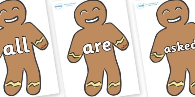 Tricky Words on Gingerbread Men - Tricky words, DfES Letters and Sounds, Letters and sounds, display, words