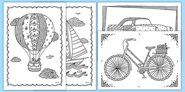 Transport Themed Mindfulness Colouring Sheets - Mindfulness Colouring Primary Resources, Mindfulness Colouring Sheets, Complicated Colouring, Adult Colouring, Book, Colour, KS2 Primary Teaching Resources, travel, vehicles, cars, planes, trains, boats