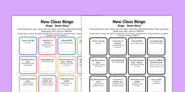 New Class Bingo Polish Translation - polish, transition, games, classroom games, preparation