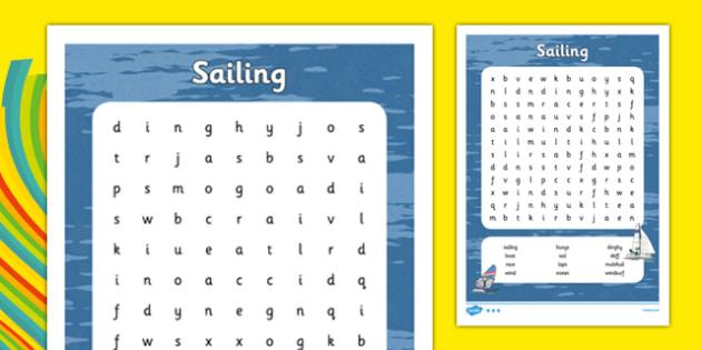 Rio 2016 Olympics Sailing Word Search - rio 2016, rio olympics, 2016 olympics, sailing, word search