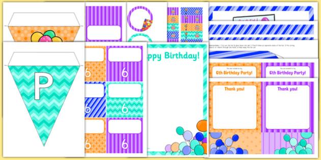 6th Birthday Party Pack - 6th birthday party, 6th birthday, birthday party, pack