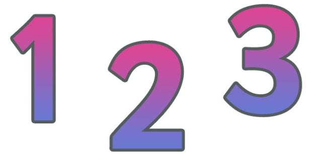0-9 Display Numbers (Purple Grad) - Display numbers, 0-9, numbers, display numerals, display lettering, display numbers, display, cut out lettering, lettering for display, display numbers